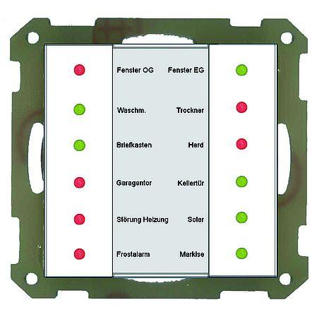 KNX 55x55mm LED Anzeige 12fach reinweiß matt MDT #SCN-LED55.01